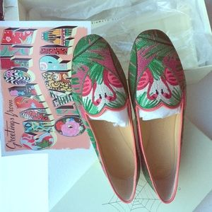 Shoes - Charlotte Olympia brand new in box flamingo flat